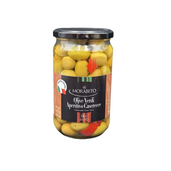 Grüne Oliven für Aperitiv caserecce 550 g